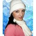 Женские шапки, белый комплект