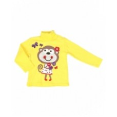 Джемпер для девочки ярко-желтый с принтом