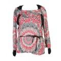 Блузка женская трикотажная с цветочным принтом и черными вставками