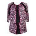 Блузка женская трикотажная с розовым цветочным узором и черными вставками